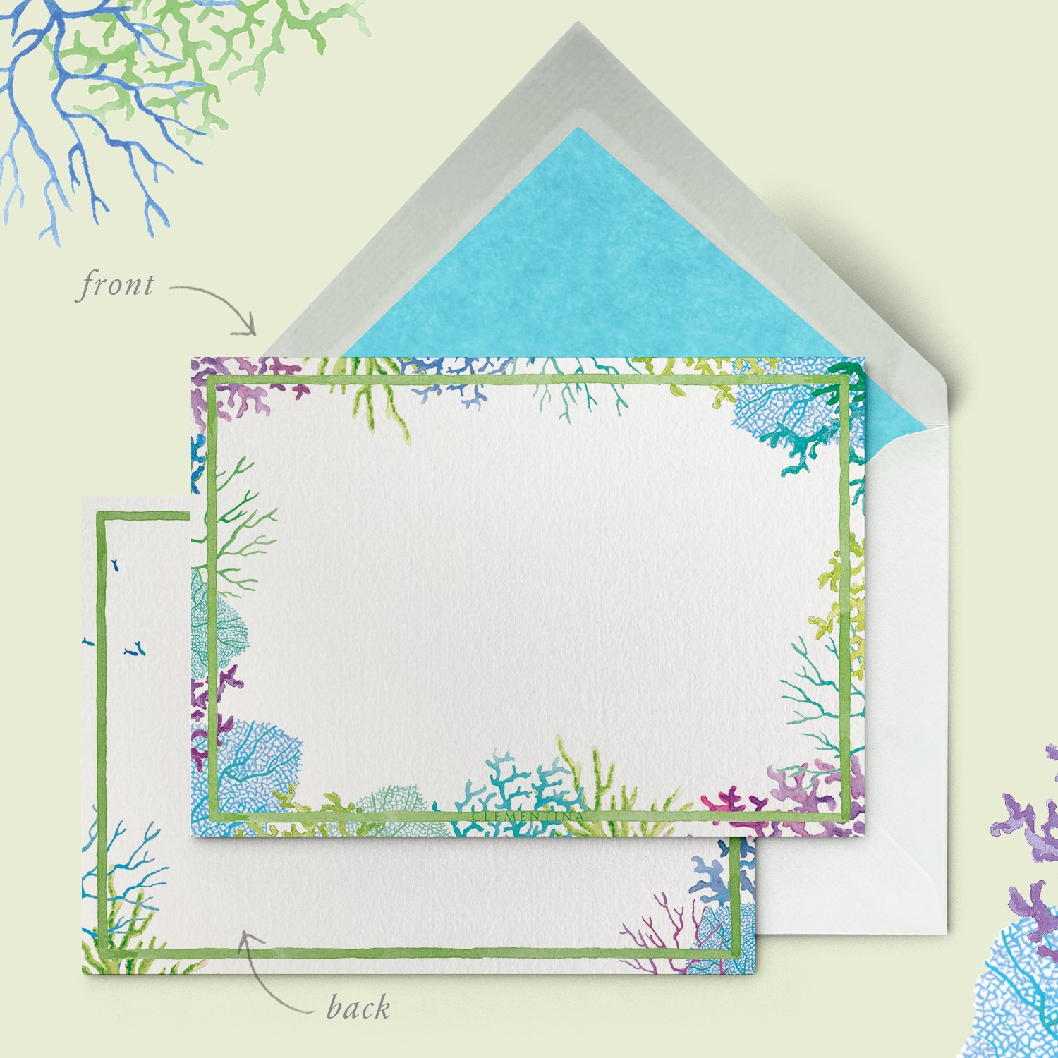 BLUE CORAL REEF STATIONERY CARDS