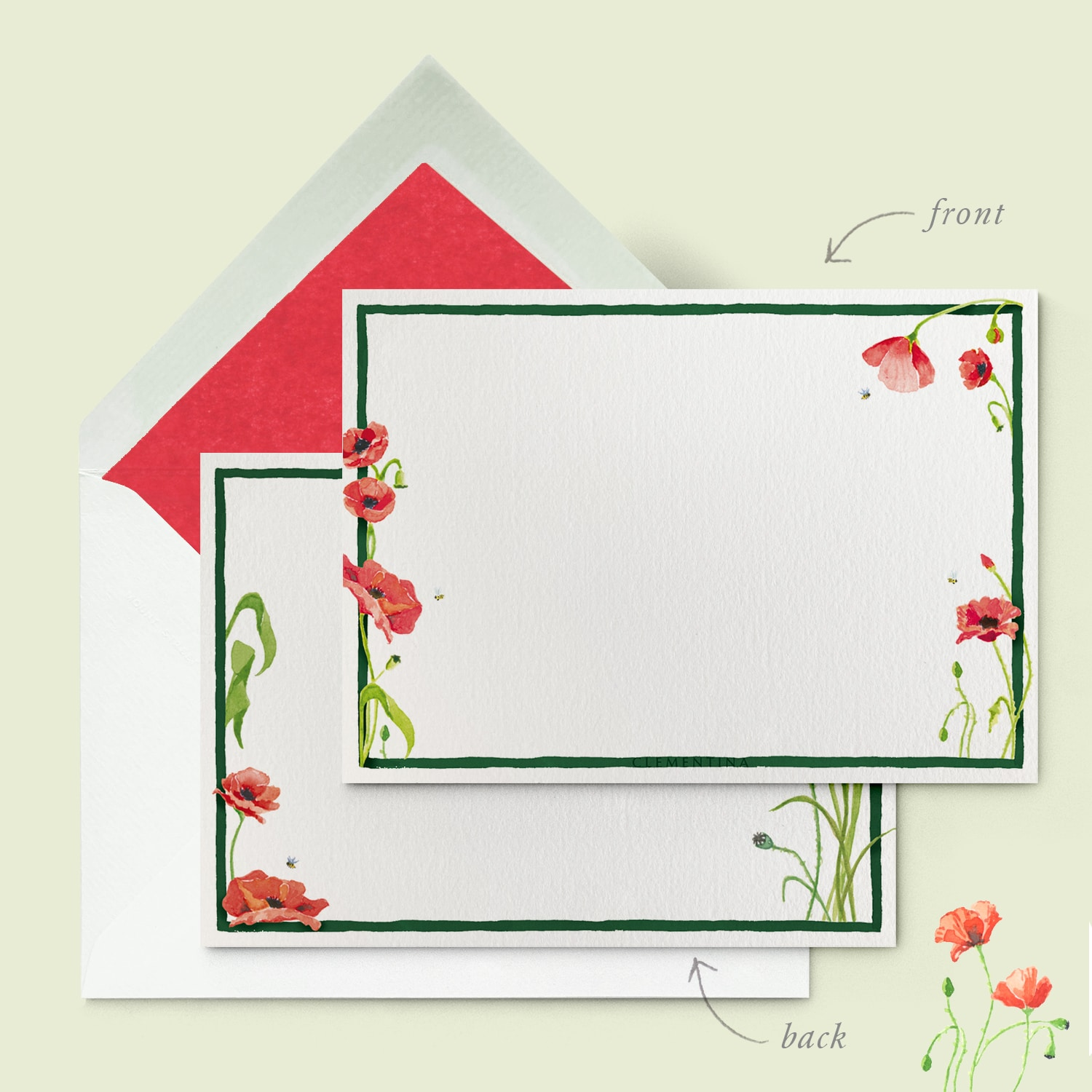 Scarlet Poppies Stationery Cards